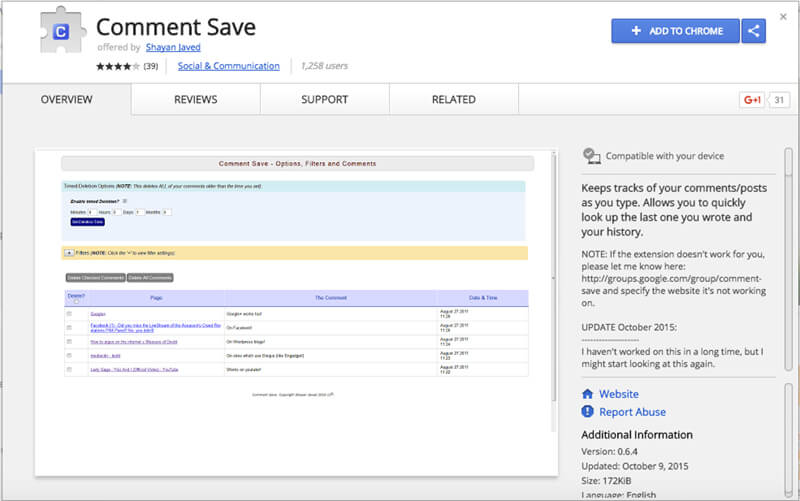 Comment-Save